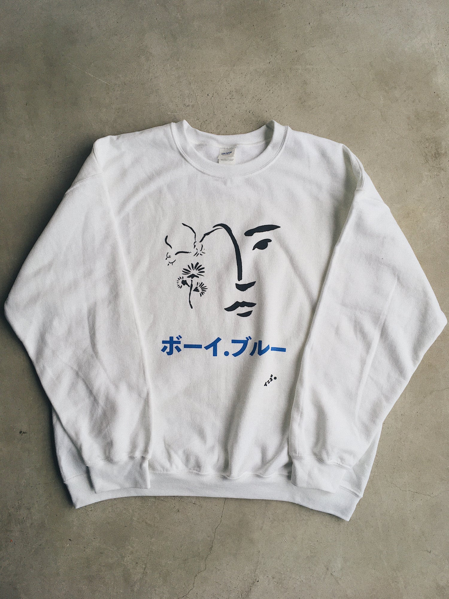 BOY BLUE- WHITE SWEATSHIRT