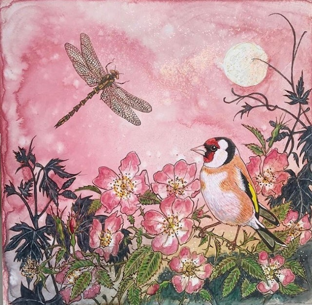 Image of Goldfinch, dog rose and dragonfly