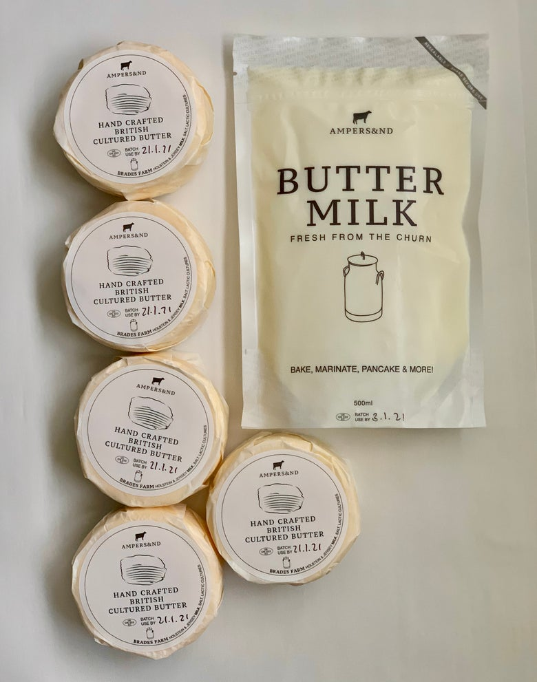 Image of  BUTTER *UK WIDE DELIVERY* 5 X  Cultured butter wheels  (5 X 200g) + 1 X 500ml Buttermilk pouch