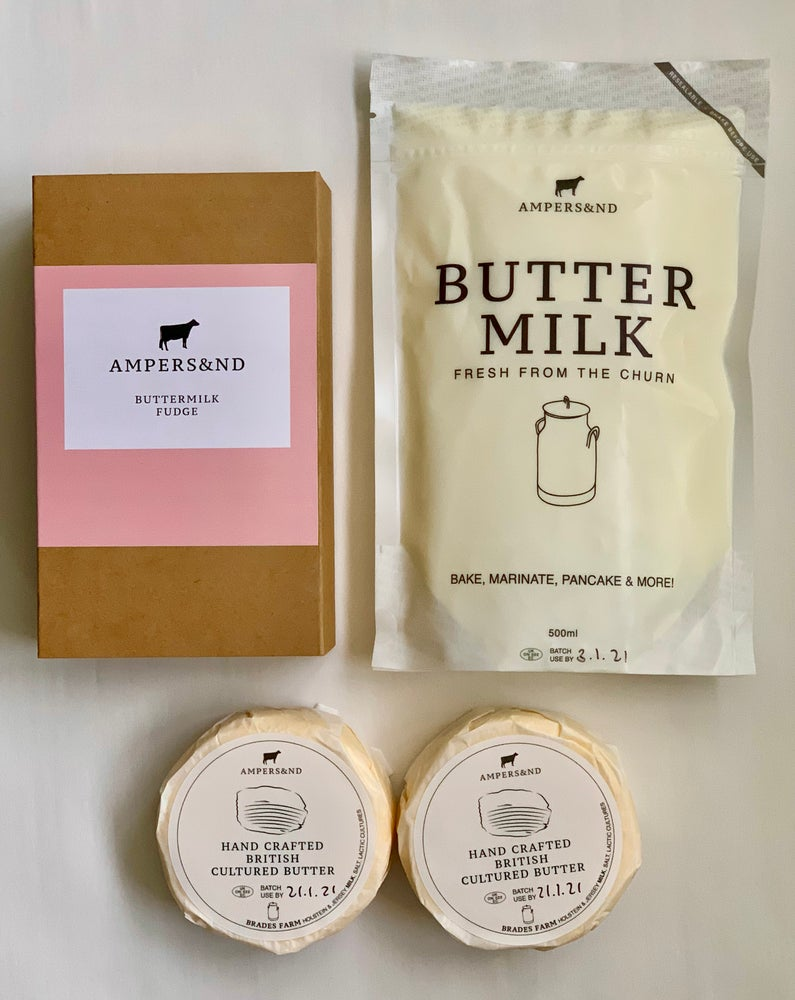 Image of TRIO *UK WIDE DELIVERY* Buttermilk Fudge, 2 X  Cultured Butter wheels and a  buttermilk pouch