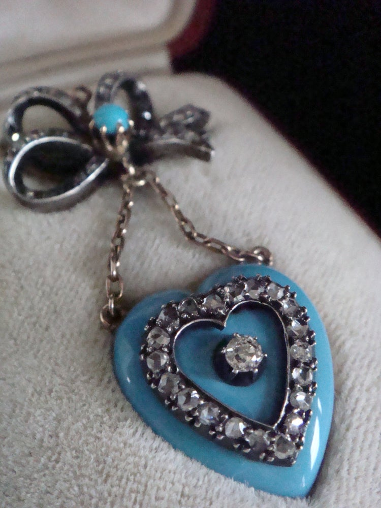 Image of Victorian 18ct original Tessier brooch in the form of enamel heart locket and rose cut diamond bow