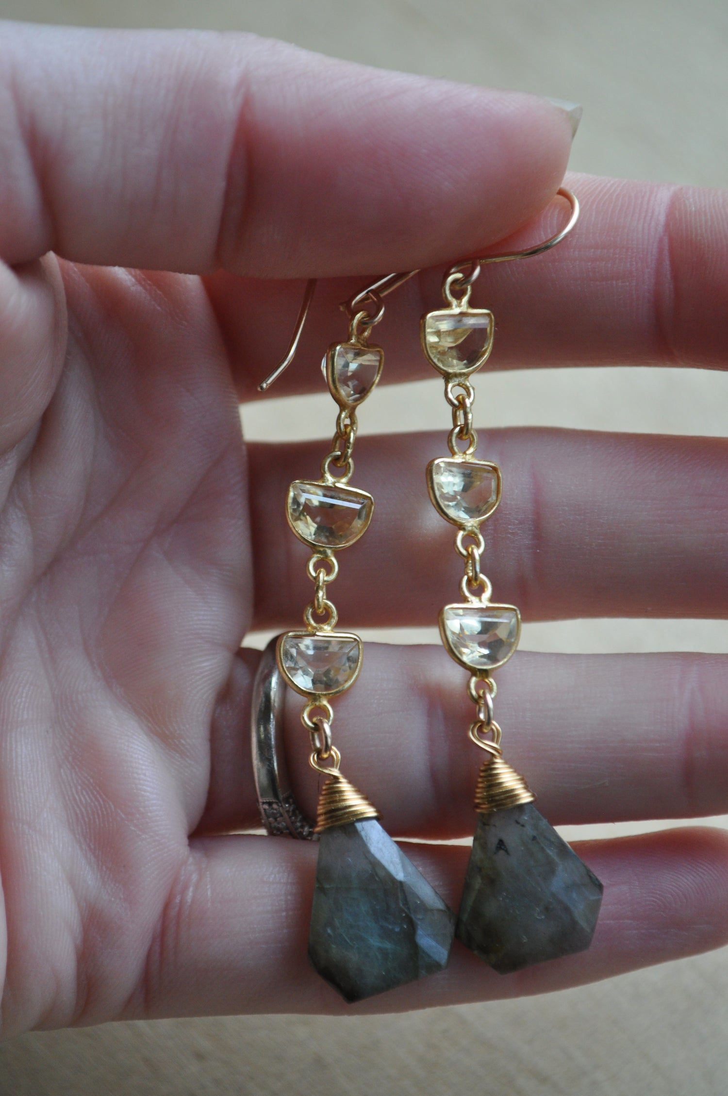 Image of Triple Citrine and Labradorite Dangles