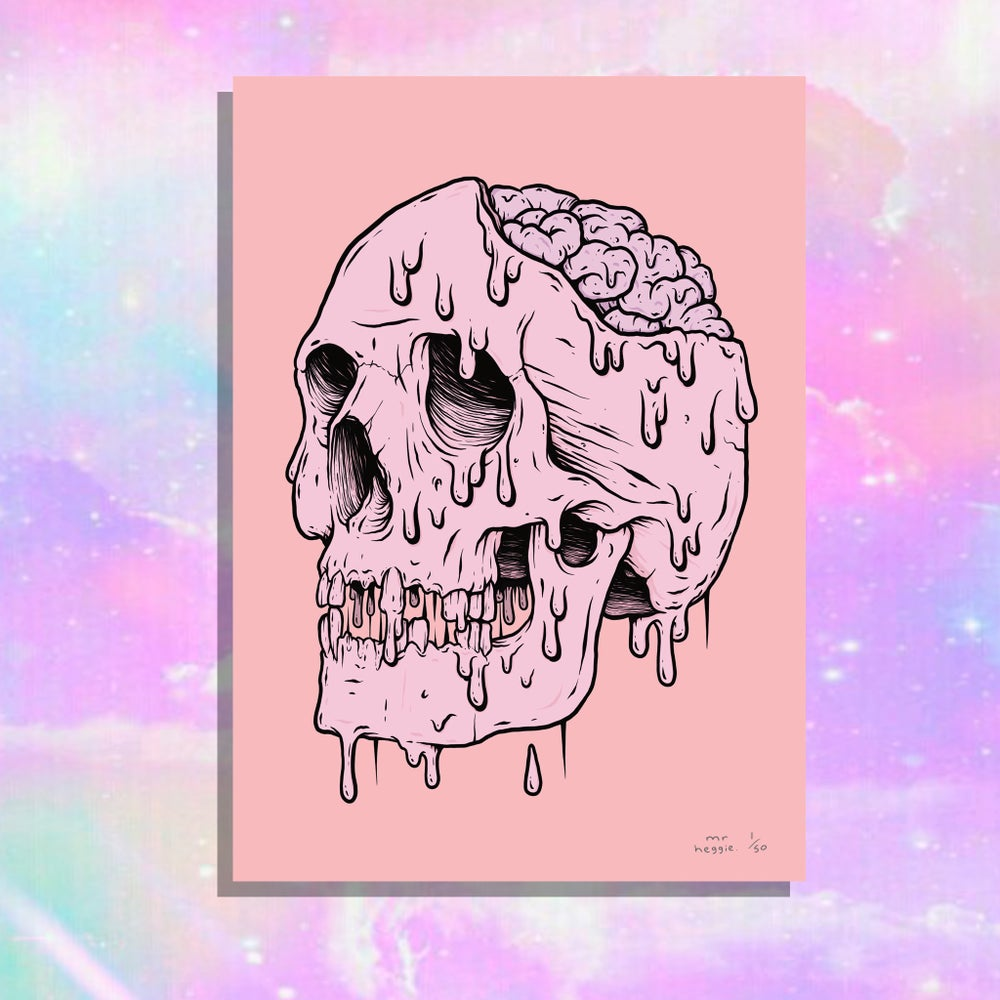 Image of The super limited edition bubblegum skull print