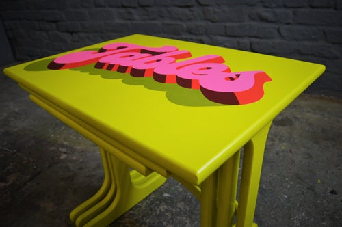 Image of Vintage Mid Century G Plan Nest of Tables Yellow & Neon Pink
