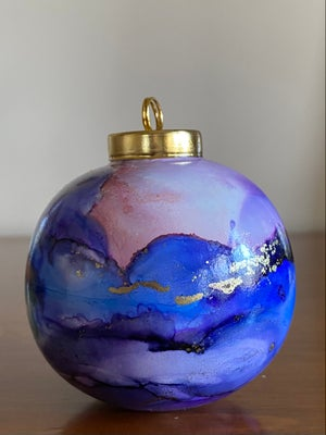 Image of Ceramic Ball Ornament - Blue and Purple