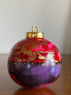 Image of Ceramic Ball Ornament - Red and Purple