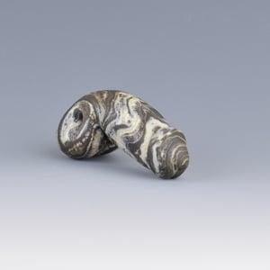 Image of Tan & Black Phallus Charm Bead - Flamework Glass Sculpture Bead