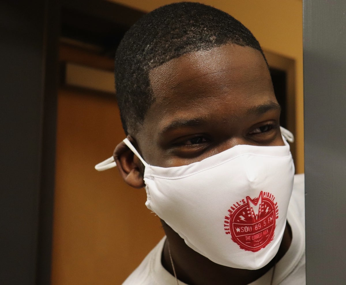 Image of Face Mask, White and Red Logo