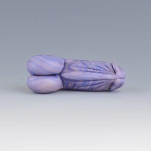 Image of Streaky Denim #2 Phallus Charm - Flamework Glass Sculpture Bead