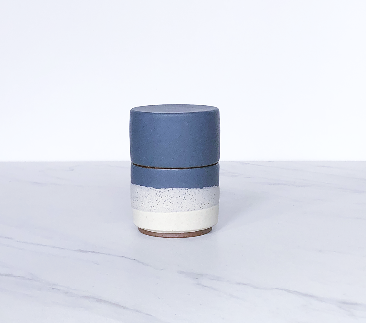 Image of Ceramic match holder with lid, glazed in matte blue slate + cream