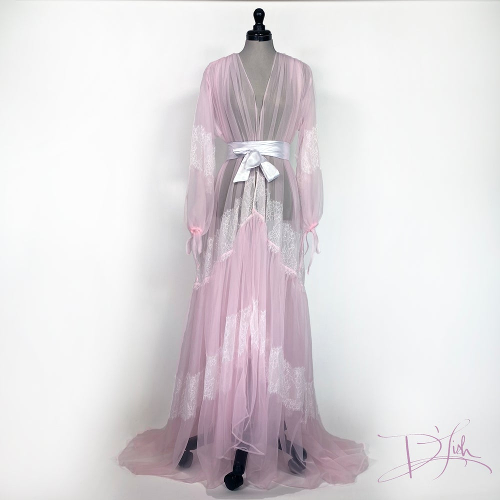 Image of Sheer Dressing Gown w/ Lace