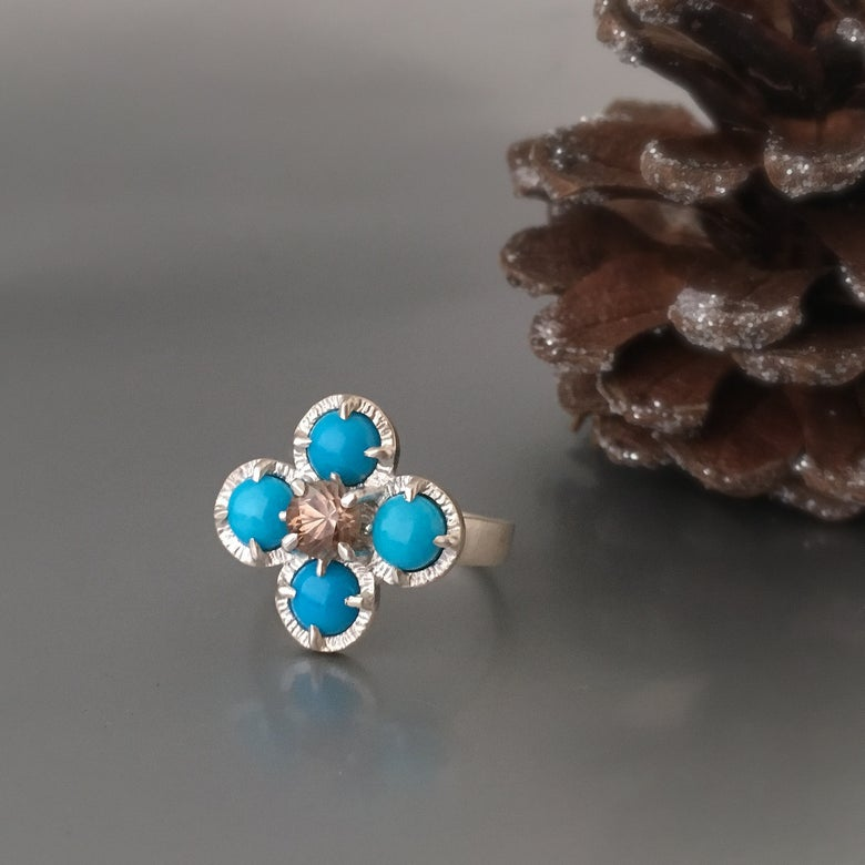 Image of juju flower ring in sleeping beauty turquoise and champagne zircon
