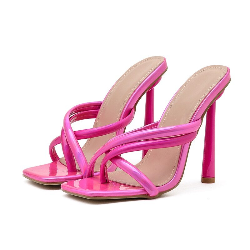 Image of TOLD YOU SO - CHROME PINK  115MM MULES