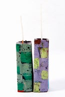 Image 1 of Mid Tower Pair in lilac, lime green, brown, sage green, grey green, blue & red