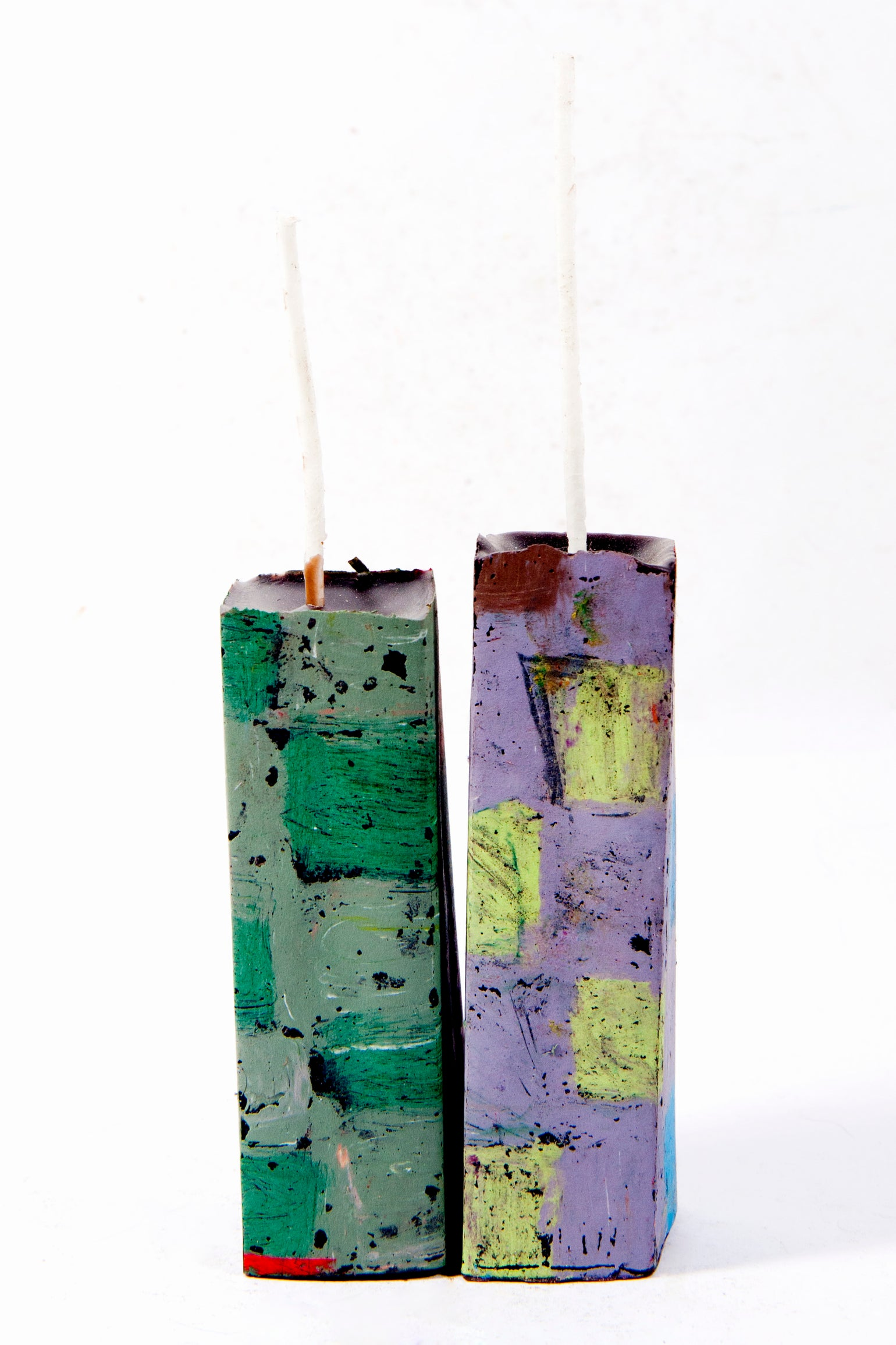 Image of Mid Tower Pair in lilac, lime green, brown, sage green, grey green, blue & red