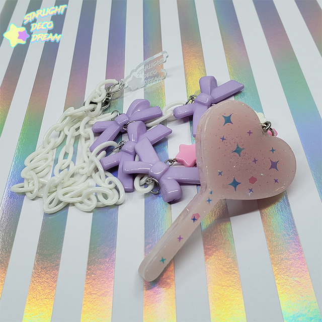 Image of Pink Starry Lollipop Charm Candy Necklace