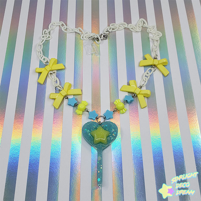 Image of Blue Starry Lollipop Charm Candy Necklace