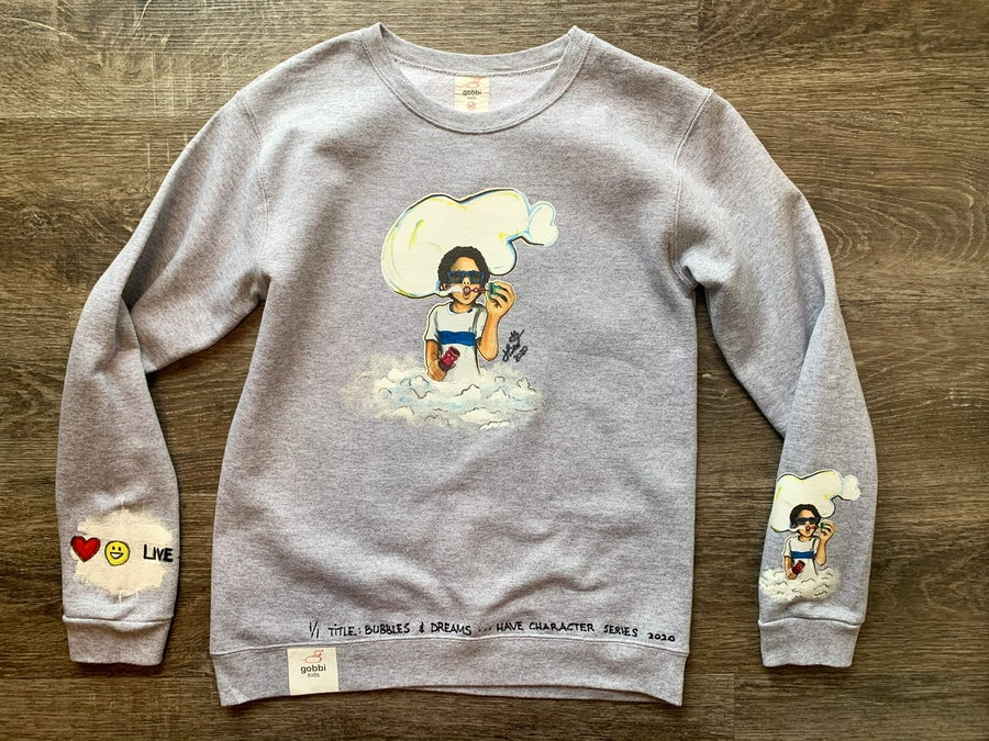 Image of Gobbi Kids | Bubble : Hand crafted, Toddler Kids Youth Crewneck Sweatshirt (Short Sleeve available)