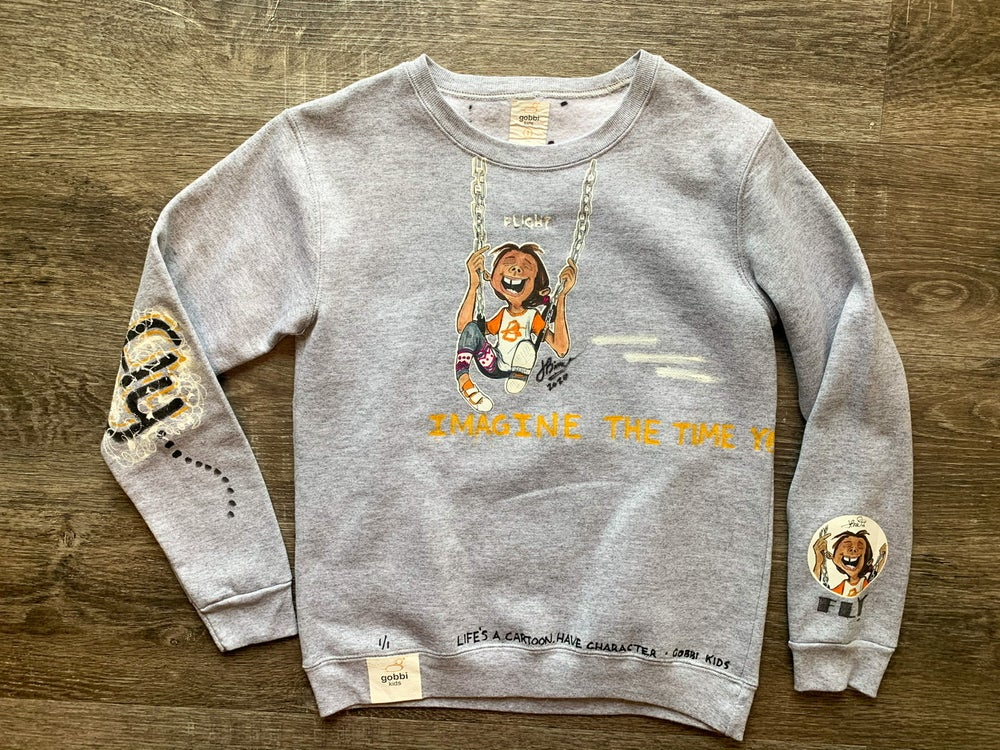 Image of Gobbi Kids | Swing: Hand crafted, Toddler Kids Youth Crewneck Sweatshirt (Short Sleeve available)
