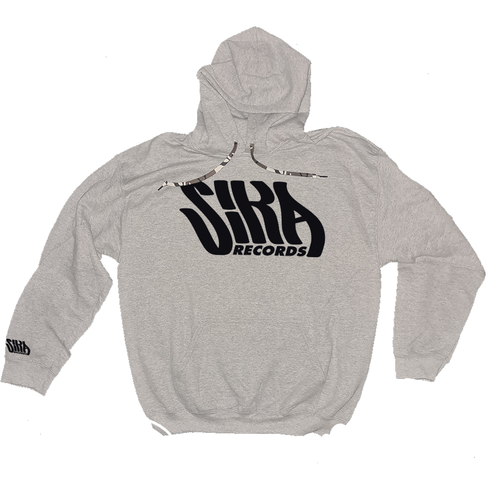 SIKA Records grey hooded sweater with black print + camo draw string