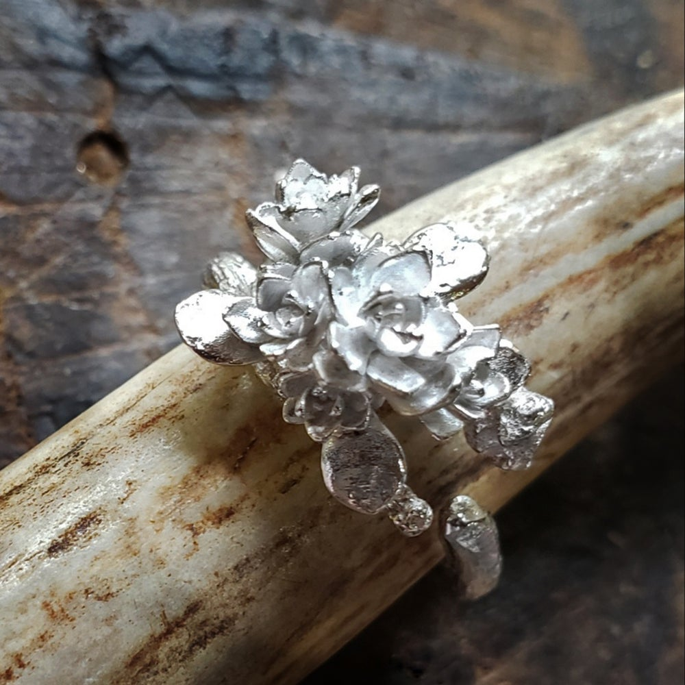 Image of Solid Sterling Twig and Succulent Adjustable Ring