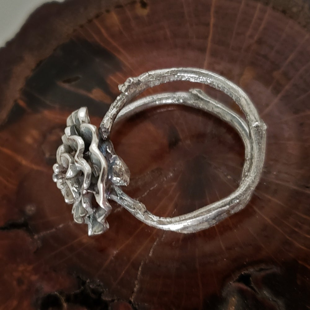 Image of Sterling Twig and Floral Bloom Size 6 Ring