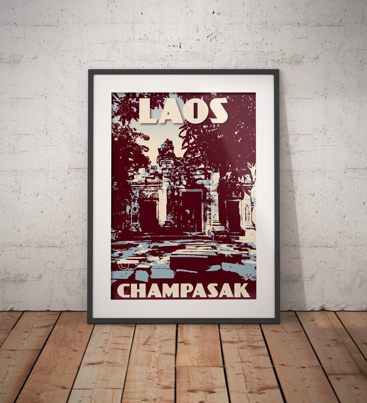 Image of Vintage poster Laos - Champasak - Wat - Blue - Fine Art Print
