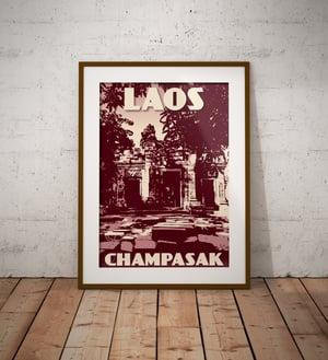 Image of Vintage poster Laos - Champasak - Wat Phu - Pink - Fine Art Print