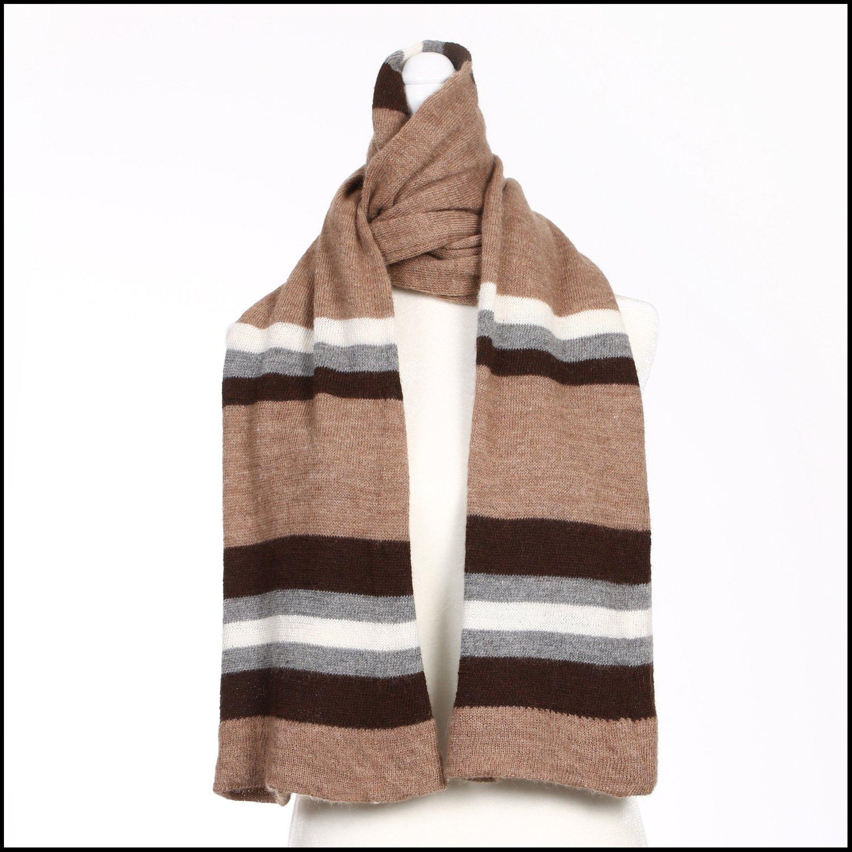 Image of Multi Stripe Scarf (fawn, grey, white, dark brown alpaca) - 100 Mile Wardrobe Series