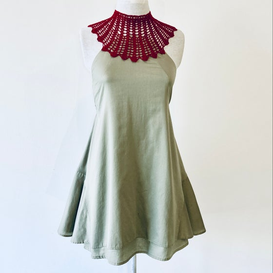 Image of Crimson and Pearl Gray Monique Dress