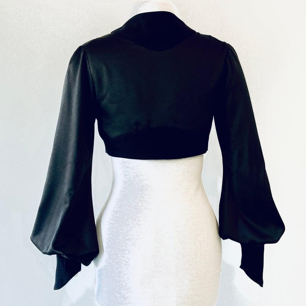 Image of Noir Silk Leone Bolero Jacket