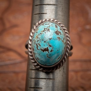 Image of 1970s Domed Turquoise and Sterling Silver Ring size 6.5