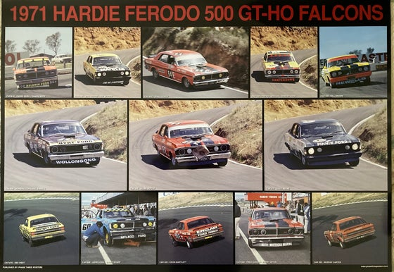 Image of Bathurst 1971 Ford Falcon GT-HO race cars. Large Hardie Ferodo 500 print.
