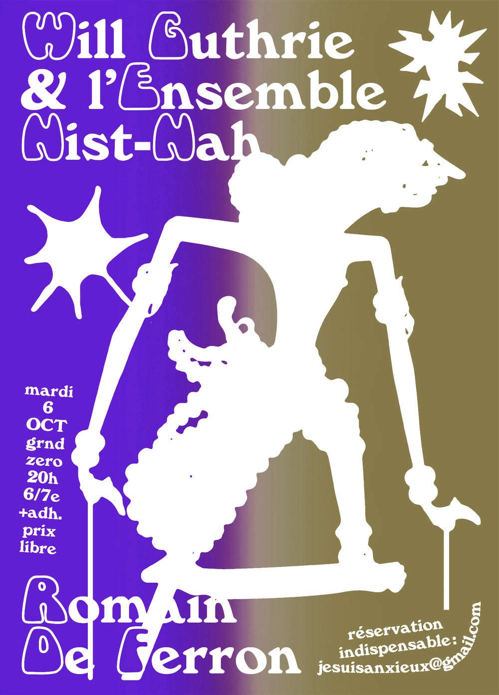 Will Guthrie & l'Ensemble Nist-Nah screen printed poster