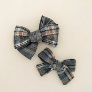 Image of Barrette Tartan gris & marron glacé