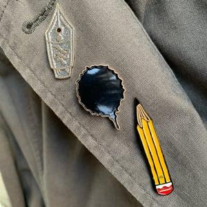 Set of 3 brooches: Nib, Ink Blot and Pencil