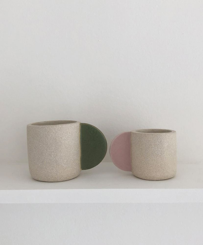 Image of Large cup with green handle by Brutes ceramics