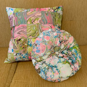 Image of Quilted & Hand Marbled Pillow
