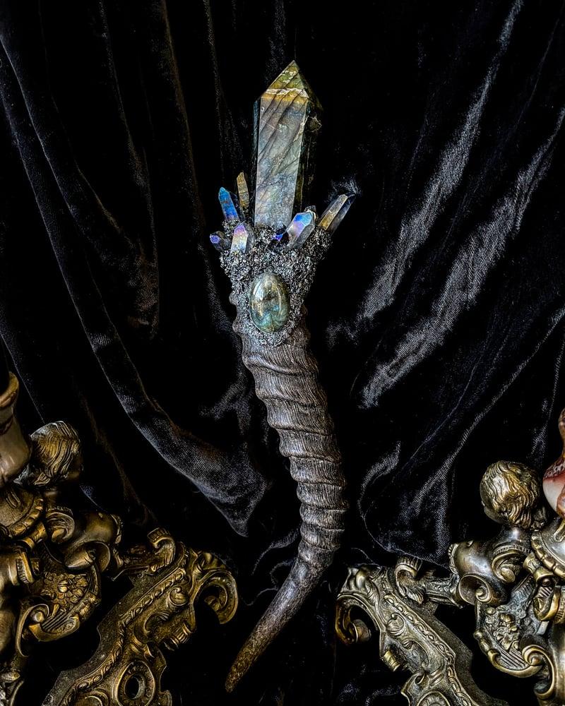 Image of Labradorite & Blue/Gold Aura Quartz - Scepter Wand