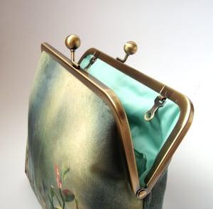 Image of Woodland glade, velvet kisslock shoulder bag + cross-body leather strap