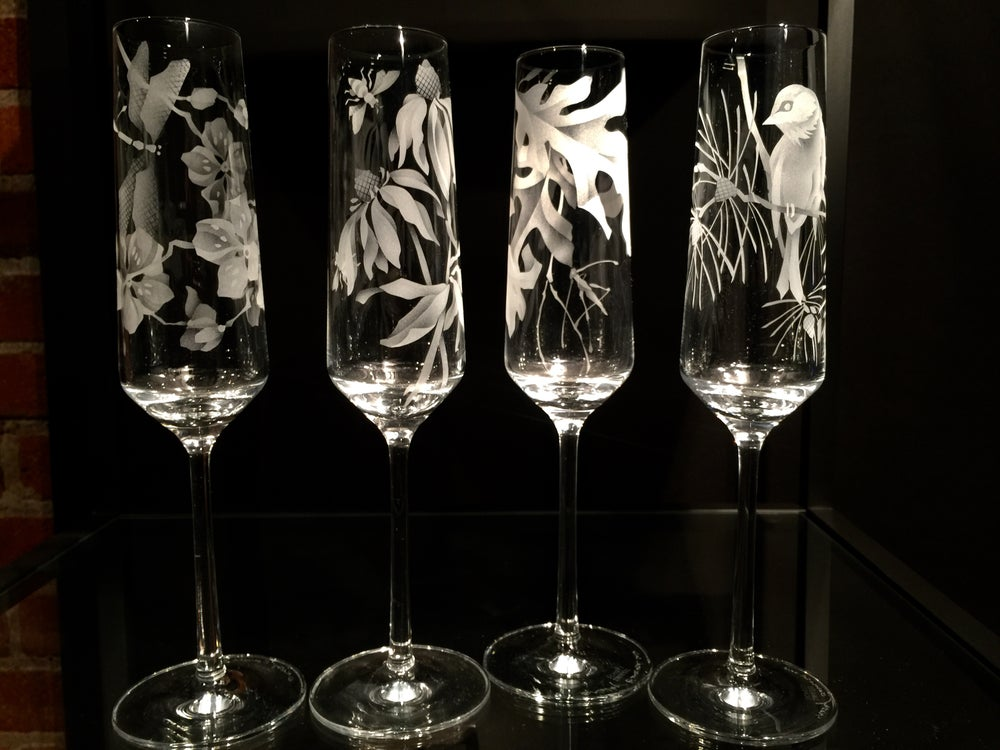 Image of Four Seasons Suite of Four Champagne Flutes