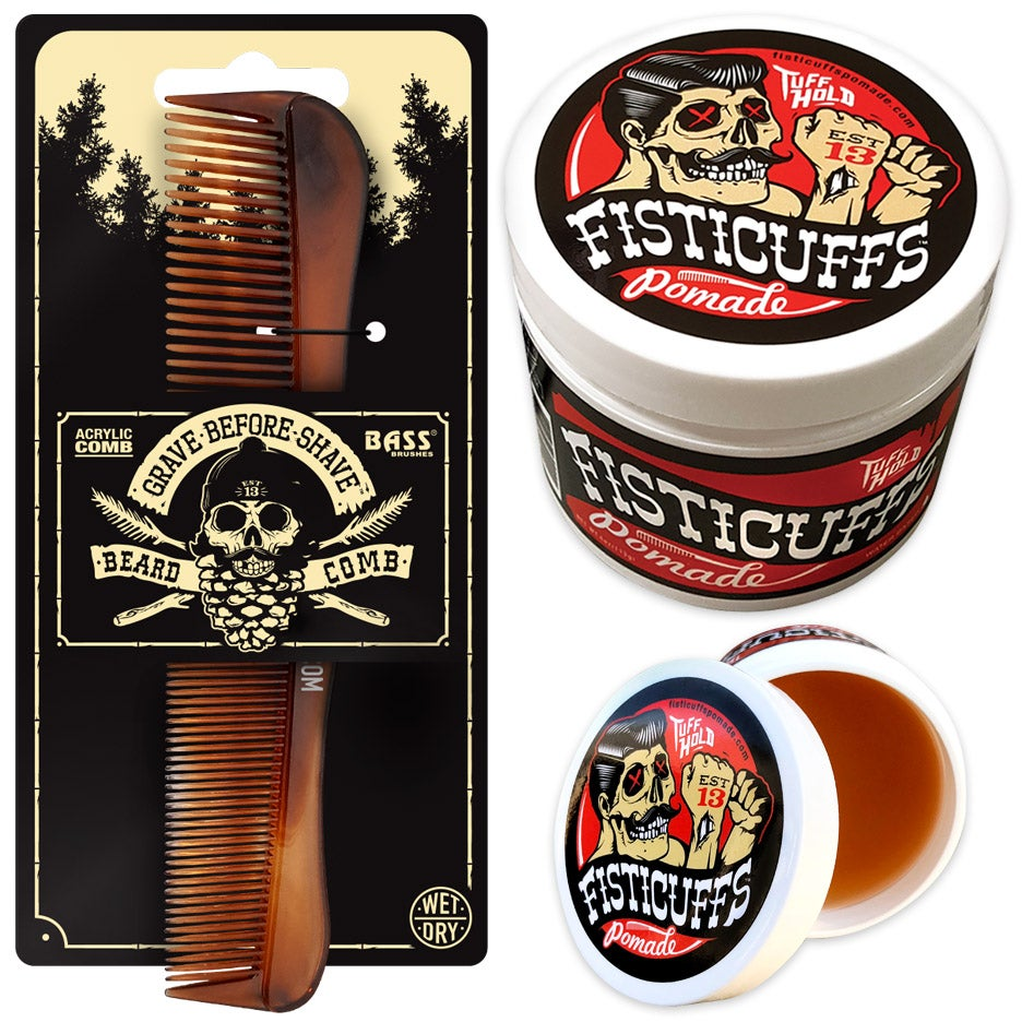 "Image of Fisticuffs™  ""TUFF HOLD"" Pomade 4oz. Jar/ BASS comb combo"