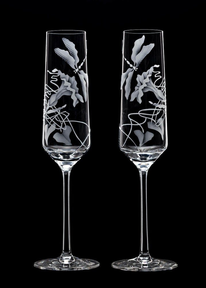 Image of Morning Glories and Dragonflies Champagne Flutes