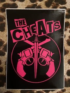 The Cheats cross gun pink on black stickers