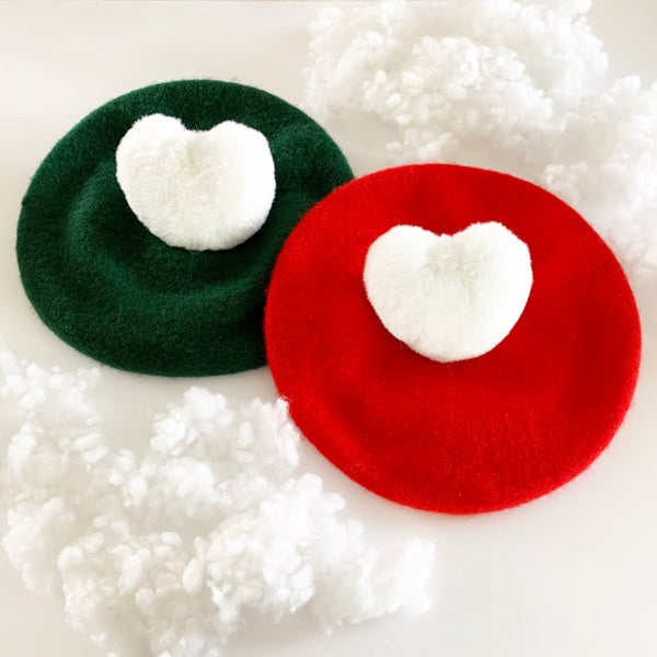 Image of Christmas Heart Pom Berets