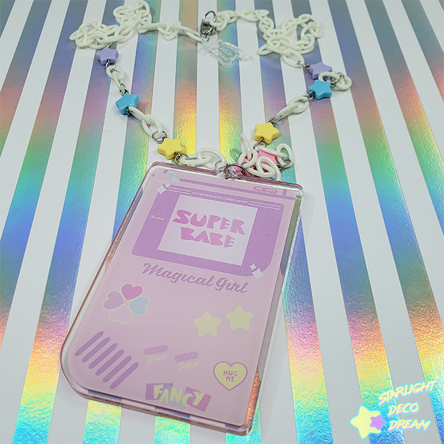Image of Super Babe Portable Epoxy Resin and Acrylic Video Game Gamer Girl Necklace