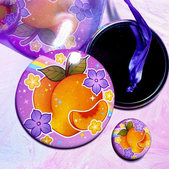 Image of 'Just Peachy' Pocket Mirror & Button Set
