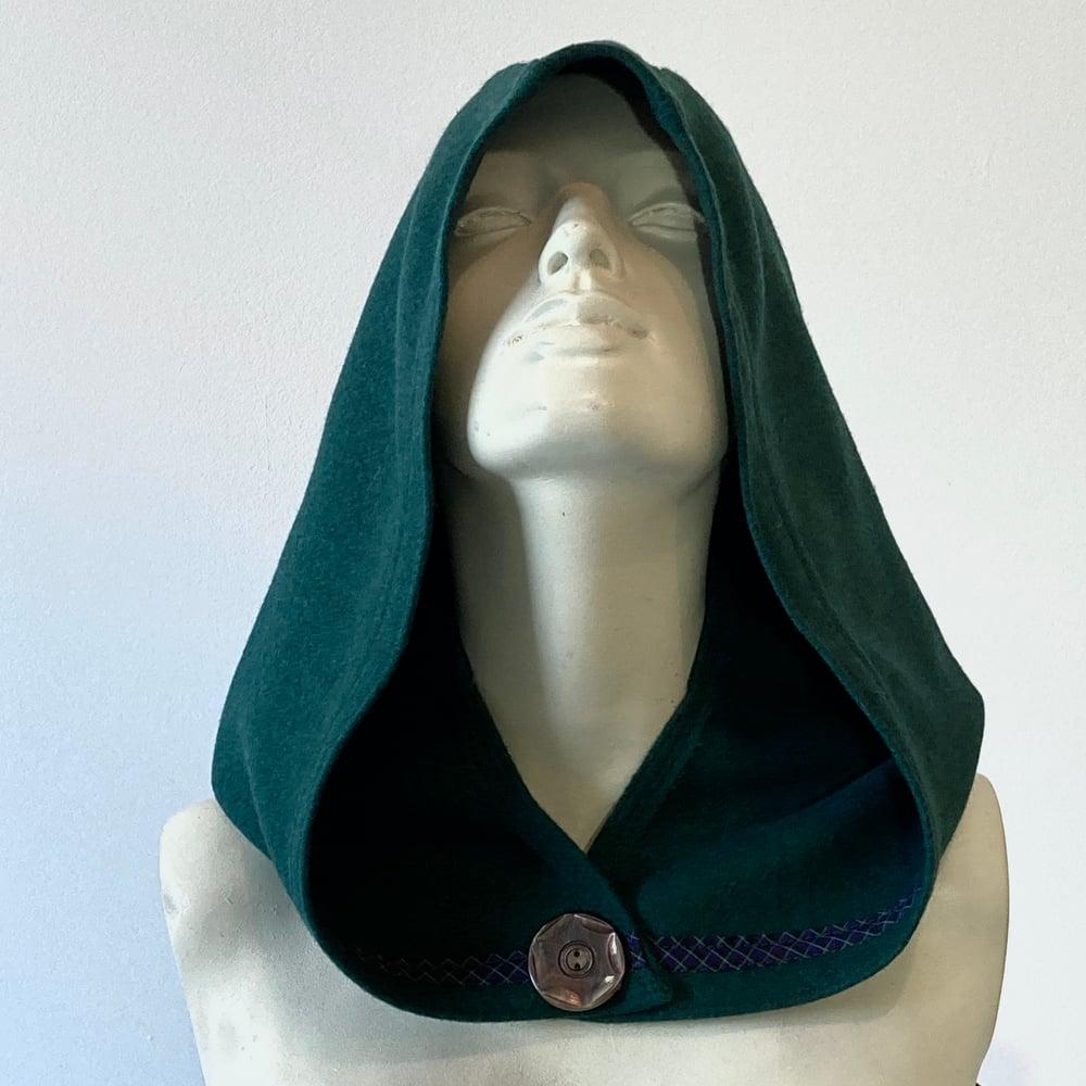 Image of Emerald Teal Wool Hood