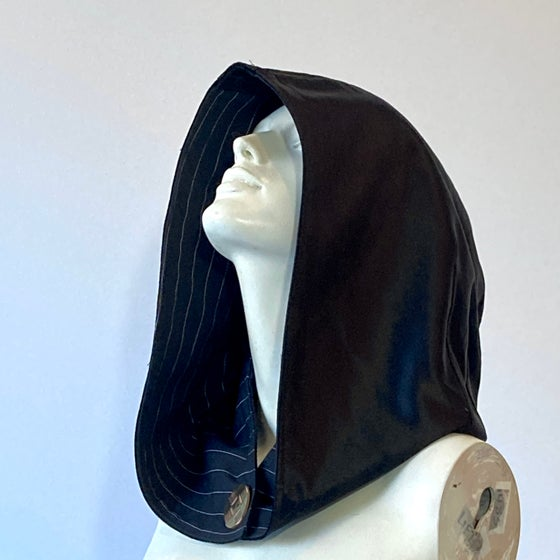 Image of Reversible Black and Pinstripe Hood
