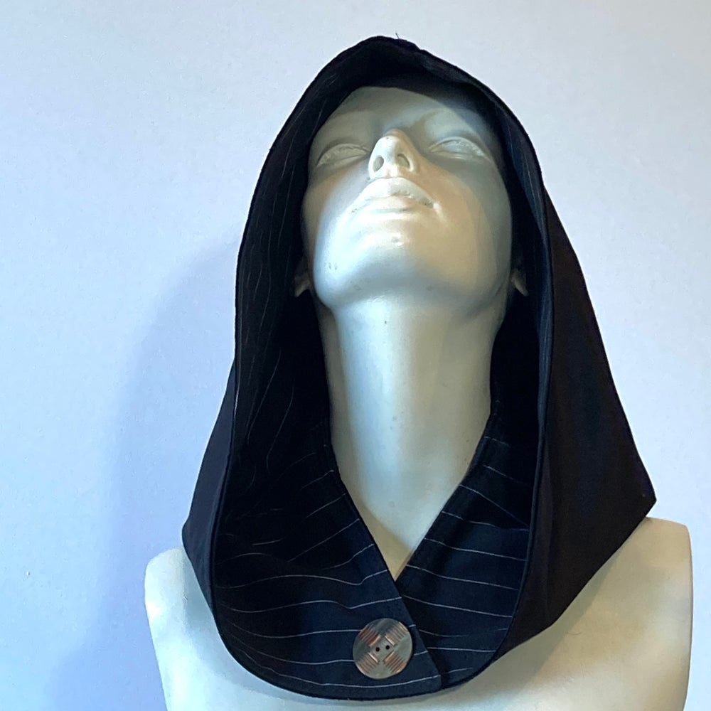 Image of Reversible Black and Pinstripe Hood